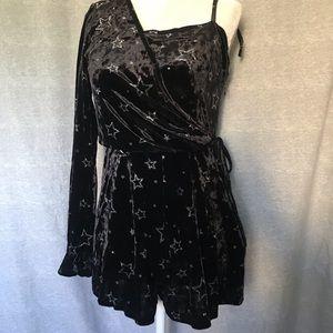 TOPSHOP women's foil star black velvet romper NWT